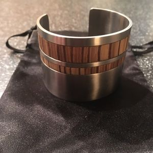 Tivi Silver & Wood Inlay Bracelet